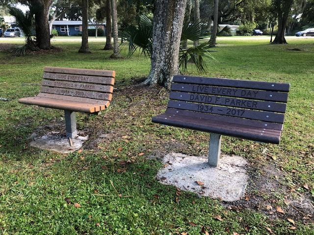 Photos of memorial benches at Johansen Park 2018